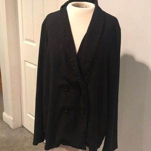 Forever 21 black crepe double breasted blazer
